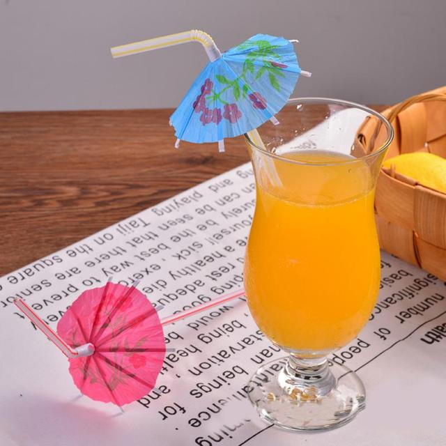 100PCS Mixed Color 3D Paper Umbrella Cocktail Drinking Straws Novelty Party Bar Decorations Christmas Holiday
