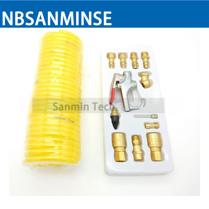SMPAK10 A Set Of 1/4  Air Tool Accessories  Blowing Dust Gun With Air Pipe Pneumatic Tool High Quality Sanmin a handful of dust 8