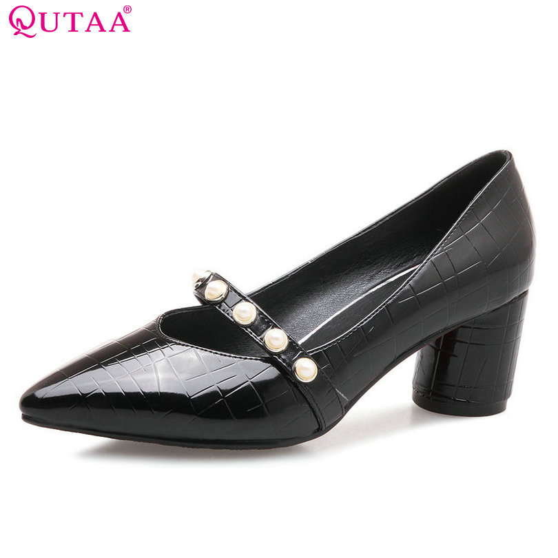 QUTAA 2018 Women Pumps Pointed Toe Square Heel Women Shoes Synthetic Spring/ Autumn Slip on Casual Ladies Pumps Szie 34-43 xiaying smile new spring autumn women pumps british style fashion casual lace shoes square heel pointed toe canvas rubber shoes