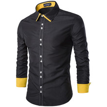 Brand New Men's Turn Down Collar Casual Shirt Slim Fit Solid Color Contrast Details Full Sleeve Shirt