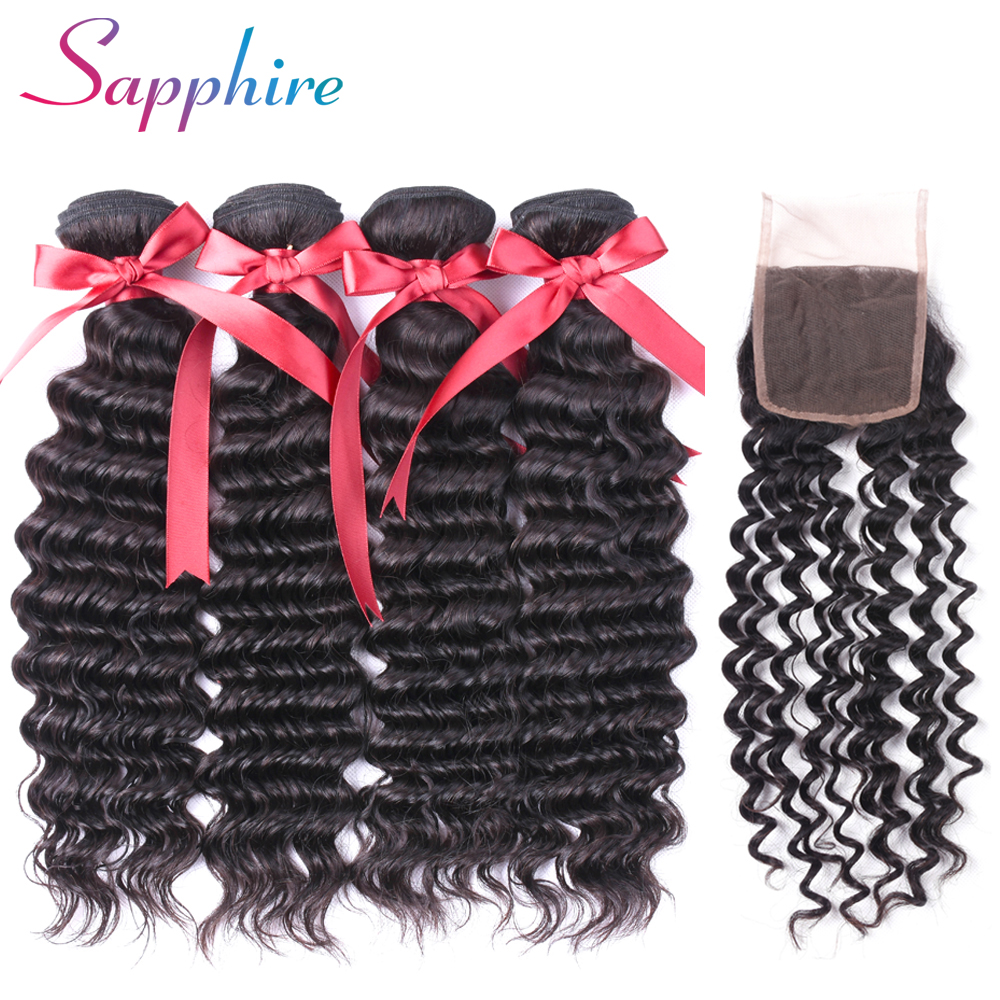 SAPPHIRE Hair Brazilian Deep Wave 4 Bundles with Lace Closure Free Part 4*4 Lace Closure Non Remy Hair Extension Natural Color