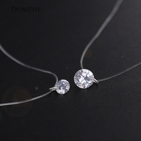 925 Sterling Silver Dazzling Zircon Necklace And Invisible Transparent Fishing Line Simple Pendant 38 40cm Personality