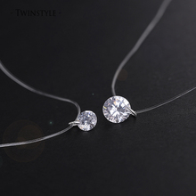 925 Sterling Silver Dazzling Zircon Necklace And Invisible Transparent Fishing Line Simple Pendant 38-40cm Personality Jewelry