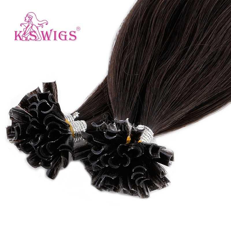 K.S парики прямые Remy ногтей U наконечник человеческих волос для наращивания двойной нарисованный кератин предварительно скрепленные капсулы fusion волос 16 ''20'' 24 ''28''