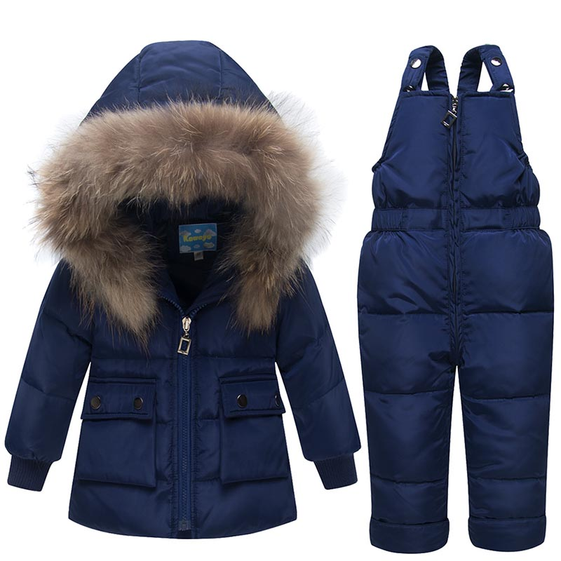 2018 New Winter For Boys Girls Ski Suit Children Duck Down Clothing Set Baby  Warm Jacket + Pants Overalls Kids Clothes Snowsuit