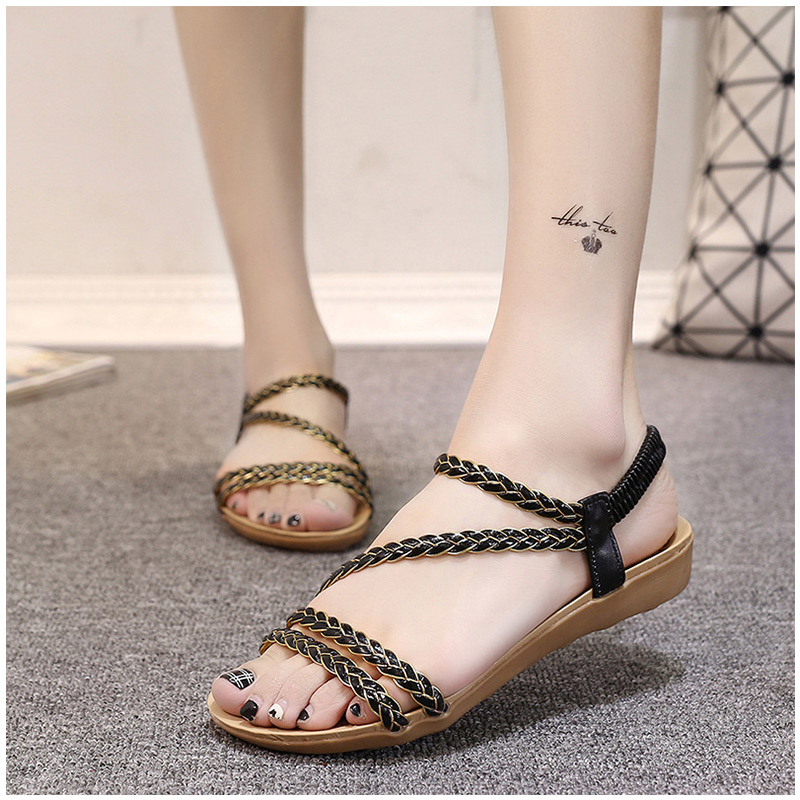 Women Sandals Fashion Summer Shoes Women Beach Sandals Flats Summer Sandals Shoes Female Ladies Sandals Sandalias Mujer Black