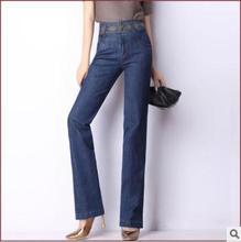 Весна осень высокая талия джинсы для женщин свободно Большой размер вышитые прямой участок джинсы Pantswoman бесплатная доставка J859
