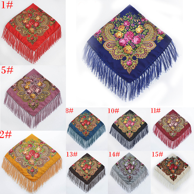 7136656418e Russia new hot sell Wquare Fashion decorative Scarf handmade tassel flower  design Scarves Blanket Shawl Handkerchief-in Scarves from Women's Clothing  ...