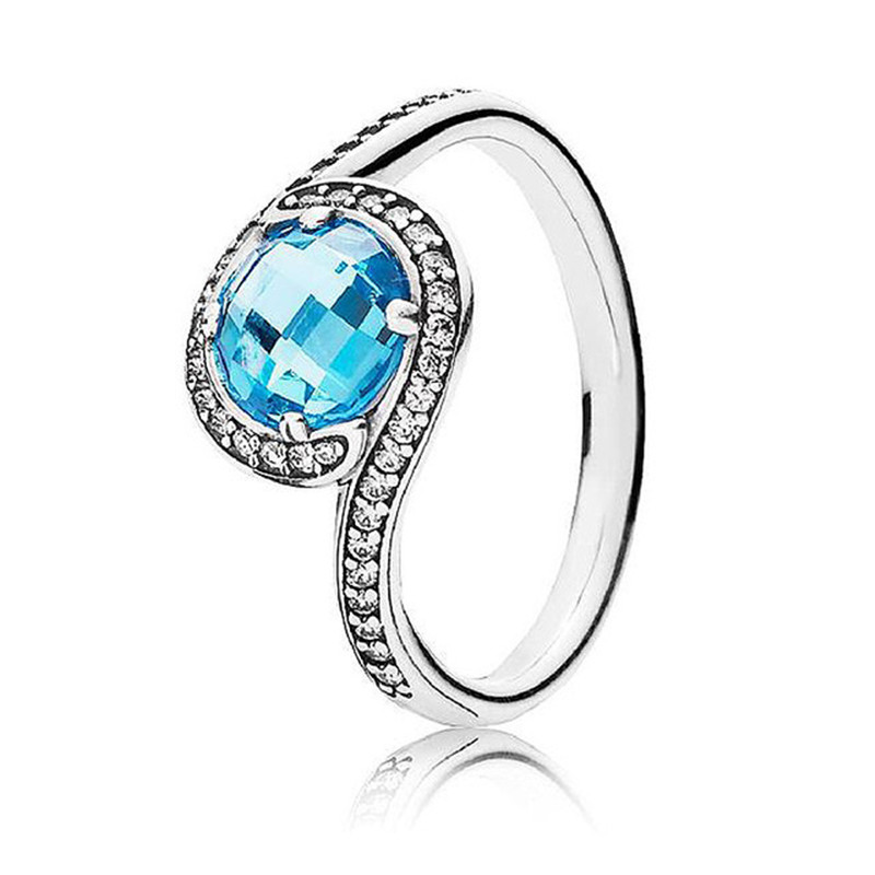 2019 New Fashion 925 Sterling Silver Blue Eye Europe Ring With Zircon For Women Wedding DIY Fine Jewelry Birthday Party Gift in Wedding Bands from Jewelry Accessories