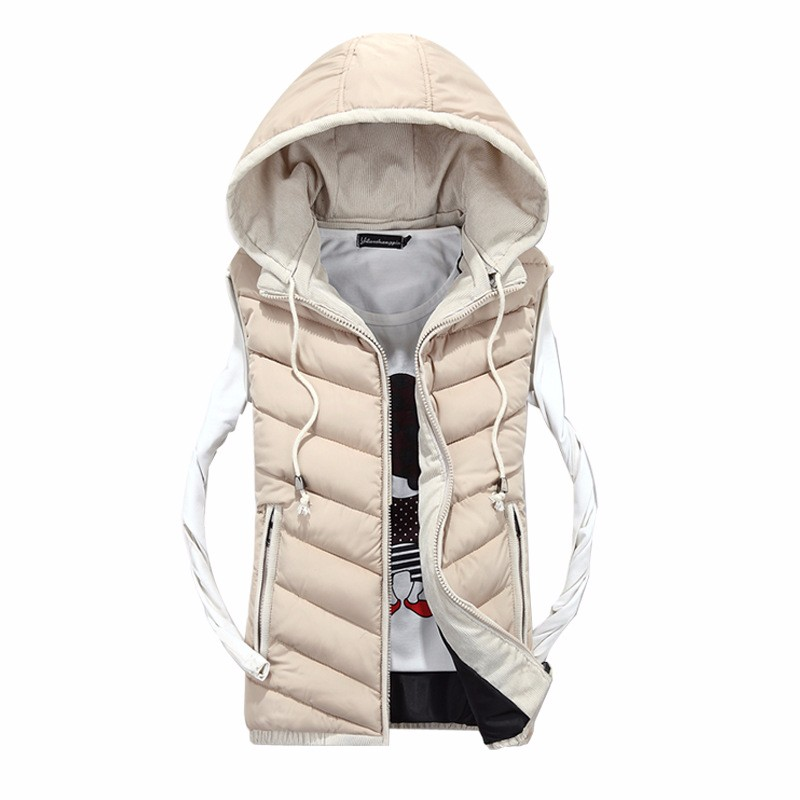 2016 Winter Men Vest Fashion Outerwear Warm Sleeveless Waistcoat Male Hooded Cotton-Padded Vest Jacket
