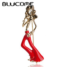 Blucome Fashion Paris Wavy Hair Girls Bell-Bottomed Pants Brooch Gold-color Pins Red Enamel Brooch Suit Shoulder Scarf Corsage