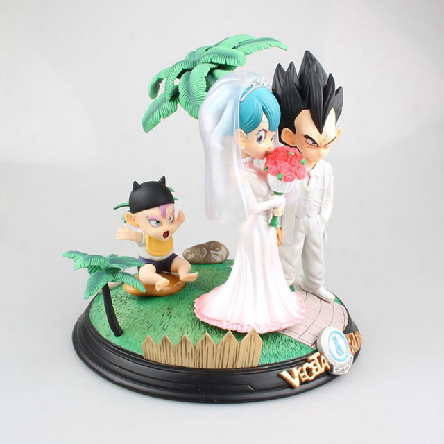 Anime Dragon Ball Z Vegeta & Bulma Wedding with Little Trunks PVC Action Figure Kids Gifts no retail box (Chinese Version) 1