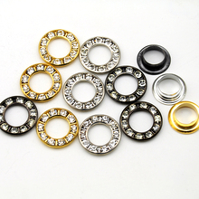 Wholesale Free shipping 90sets 3 colors round metal brass rhinestone eyelets crystal diamond grommets glass eyelets RE-17mm-001