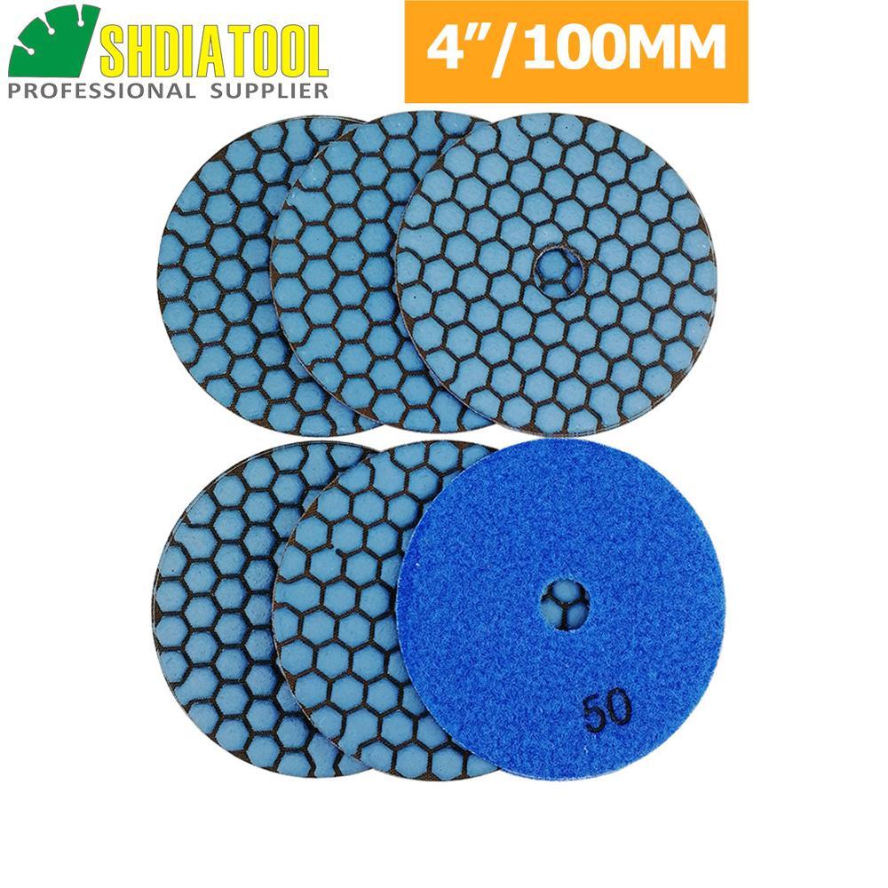 "4/"" Ceramic Bond DRY Polishing 15 Pad Aluminum Backer Granite glass stone marble"