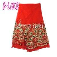 אדום פאייטים בד תחרה צרפתי באיכות גבוהה בד תחרה פאייטים אפריקאים אופנה רקומה fabric1707b0909d20