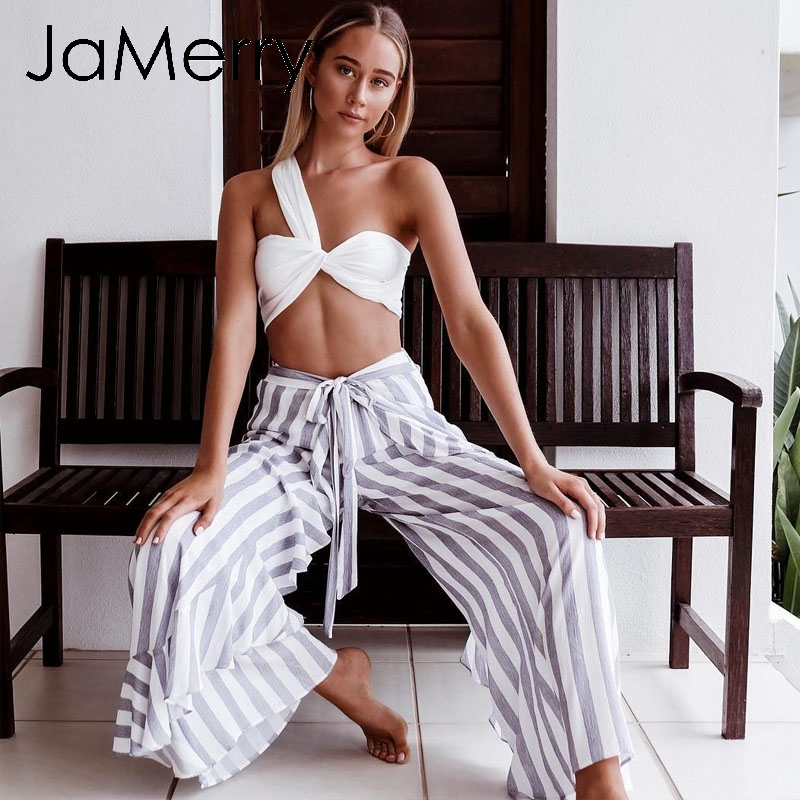 JaMerry Boho sexy stripe   wide     leg     pants   women bottom Sash ruffle high waist   pant   trousers Summer beach holiday   pants   female 2019