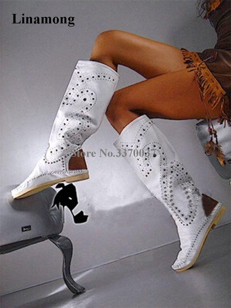 Nouveau mode femmes hiver bout rond en daim blanc cuir clouté Rivet bottes plates confortables bottes longues