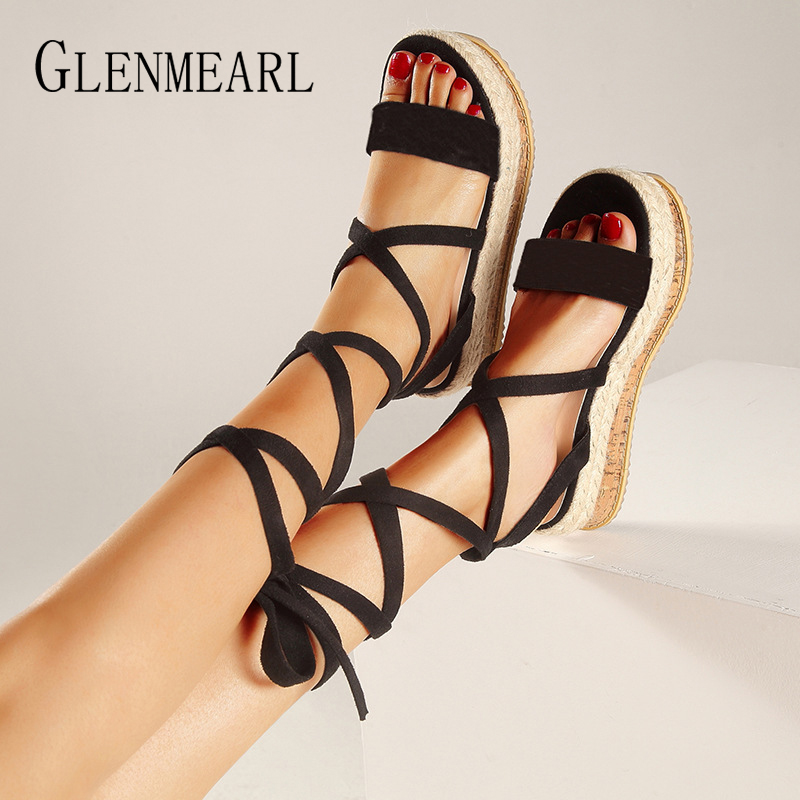 Gladiator Women Sandals Wedges Shoes Platform Lace Up Ankle Strap Summer Shoes Woman Wedge Heel Peep Toe Plus Size Sandals MujerGladiator Women Sandals Wedges Shoes Platform Lace Up Ankle Strap Summer Shoes Woman Wedge Heel Peep Toe Plus Size Sandals Mujer