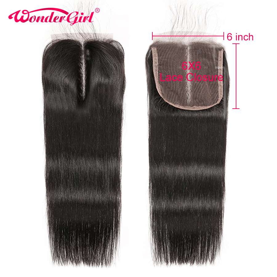 Wonder girl 6x6 Lace Closure Brazilian Hair Straight Human Hair Closure Pre Plucked With Baby Hair