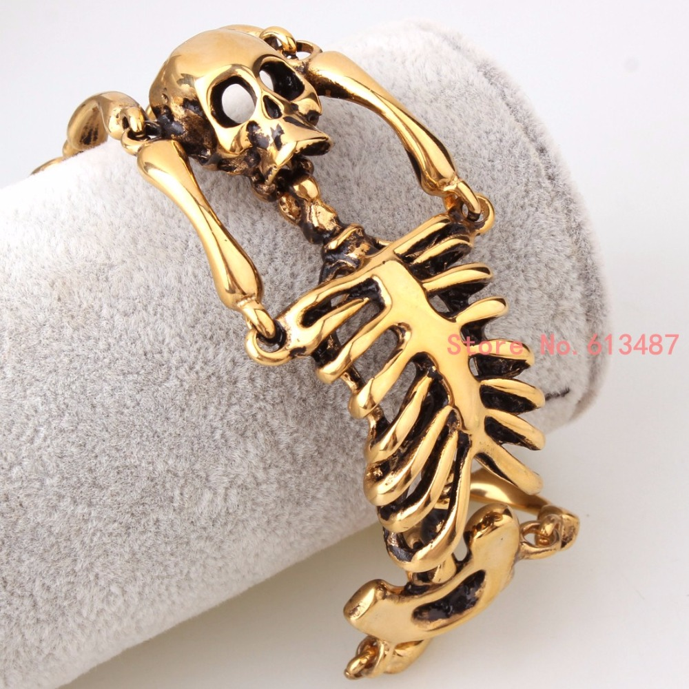 В стиле панк jewelry кости черепа браслет Нержавеющая сталь золото 35 мм  широкий звено цепи мужские Браслеты с подвесками бесплатная доставка 4c7f4159451