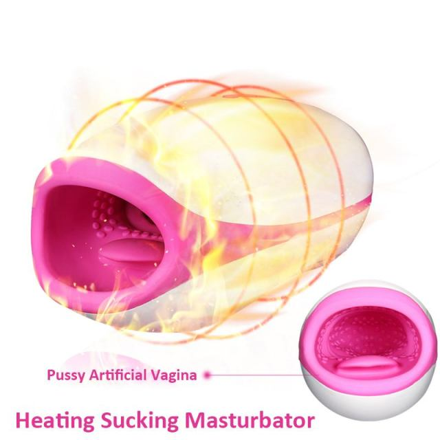 Male Masturbator Oral Sex Toys 5 Speed Heated Sucking Real Pussy Vagina 10 Mode Vibrator For Men Adult Intimate Sex Products