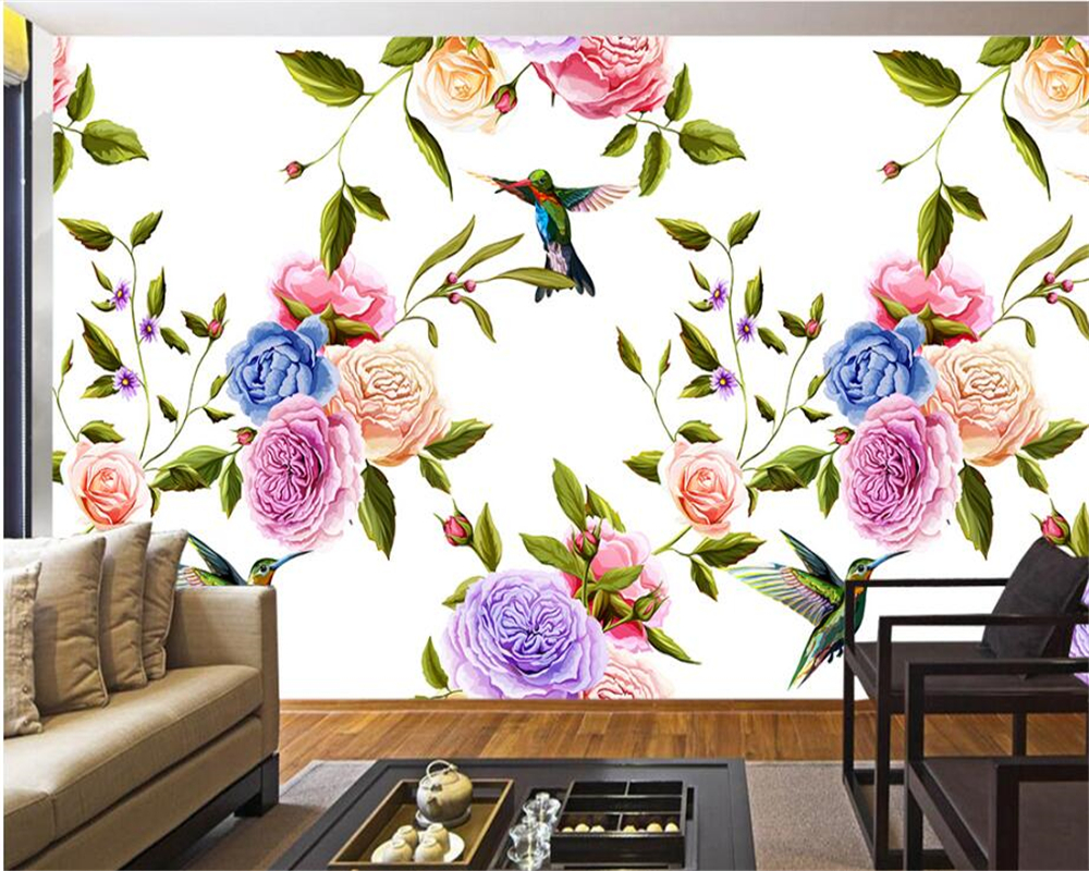 Beibehang Hand Painted Classic 3d Wallpaper With Flowers And Birds