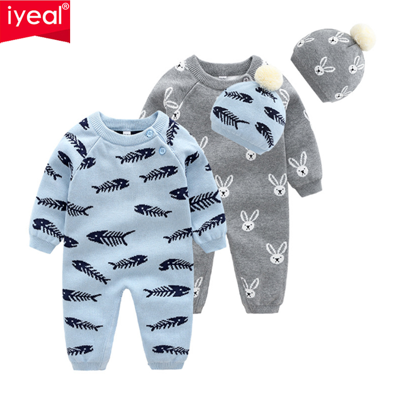 IYEAL Baby Boys Rompers With Hat Autumn Newborn Girls Jumpsuits Long Sleeves Infant Bebe Overalls Knitted Toddler One Piece Wear
