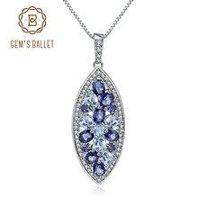 Mücevher bale doğal Sky Blue Topaz iolit mavi mistik kuvars 925 ayar gümüş kolye ve kolye kadınlar için güzel takı