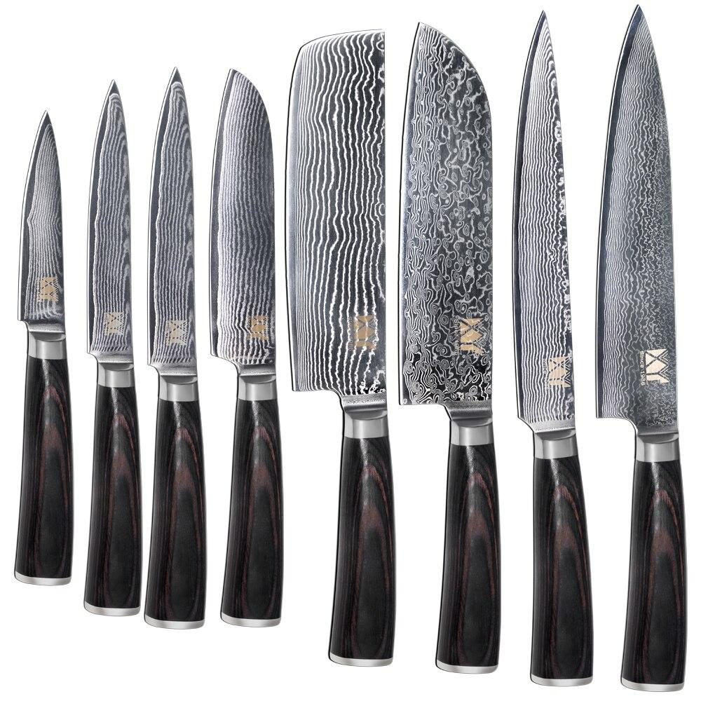 merek baru vg10 baja damaskus pisau 8 pcs set warna kayu menangani jepang dapur