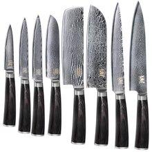 Neue Marke VG10 Damaskus-stahlmesser 8 Stücke Set Farbe Holzgriff Japanischen Stahl Küchenmesser Heißer Verkauf Professionelle Messer Set