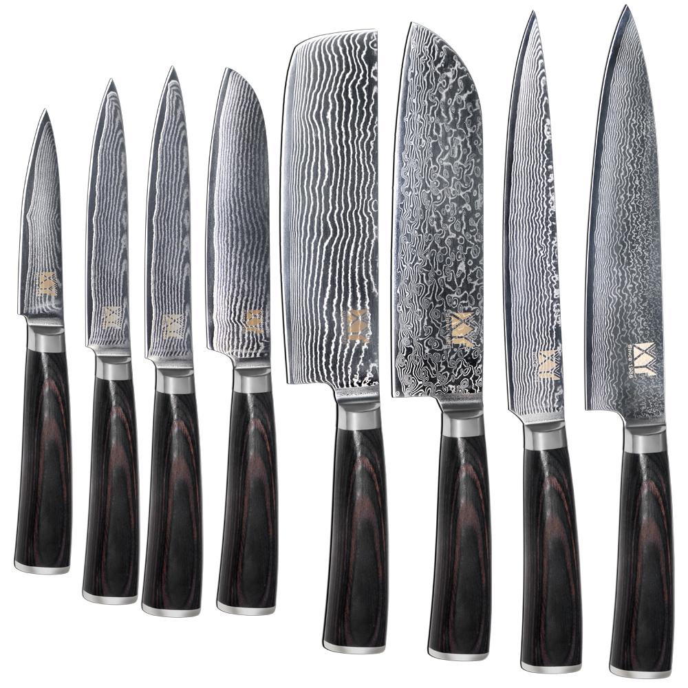 New Brand VG10 Damascus Steel Knife 8 Pcs <font><b>Set</b></font> Color Wood Handle Japanese Steel Kitchen Knife Hot Sale Professional Knives <font><b>Set</b></font>