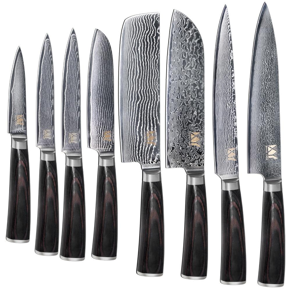Nouvelle Marque VG10 Damas Couteau En Acier 8 pcs Ensemble Couleur Manche En Bois Japonais Couteau de Cuisine En Acier Vente Chaude Professionnel Couteaux ensemble