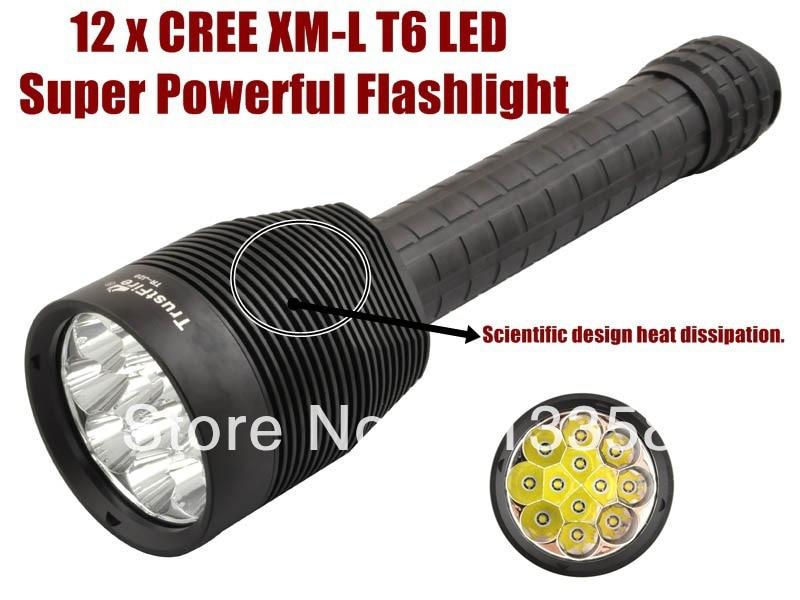 TrustFire TR-J20 Super Powerful 12 x CREE XM-L T6 LED 12.6V 5 - Mode led Flashlight Torch For 3 x 26650 - Free shipping