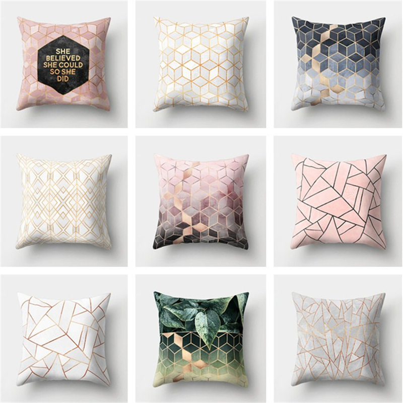 Pillow Cover New Geometric Printed Pillow Case Polyester Pillowcase Square 45cm*45cm Home Living Room Bedroom Decorative