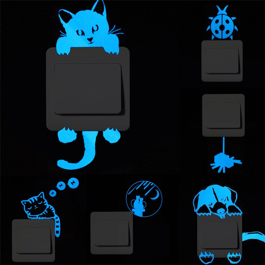 Wallpaper Sticker Glow Dark Switch Panel Cartoon Switch Luminous Fluorescent Removable 7.5*7.5*1cm Wallpapers For Living Room B#