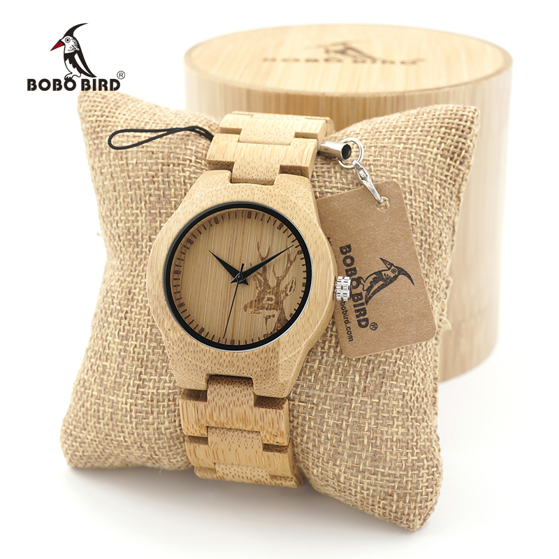 BOBO BIRD ladies Bamboo Wood Quartz Watches Women clock with Deer Head Dial with Leather Strap in Gift case oem bobo bird men watches women wooden bamboo watch ladies quartz lover s clock with leather strap as gift in wood box custom