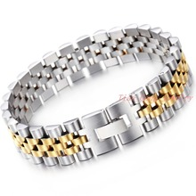 New Arrival Bracelet 20.5cm Silver Gold 316L Stainless Steel Hand Chain Link 15mm Wide Fashion Women Men Jewelry