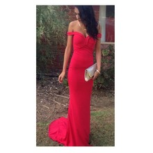 2016 Simple And Sexy Memraid Red prom font b Dress b font Bakless Sweep Train Chiffon