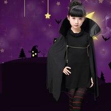 2018 New Cartoon Hotel Transylvania 2 Mavis Costume Fancy Girls Black Cape Coat Halloween Carnival Cosplay