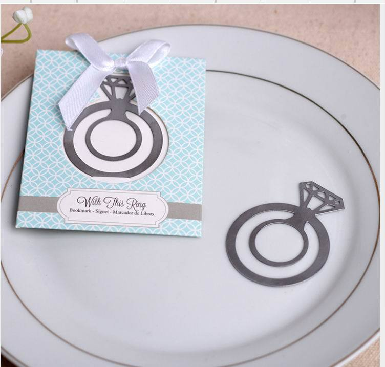 DHL Freeshipping 100PCS Lot Engagement Ring Bookmark wedding bridal shower party favor guest gift girl present