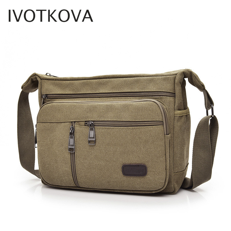 IVOTKOVA fashion women and men cross body bag 2019 canvas casual men business pack high quality laptop bags male in Crossbody Bags from Luggage Bags