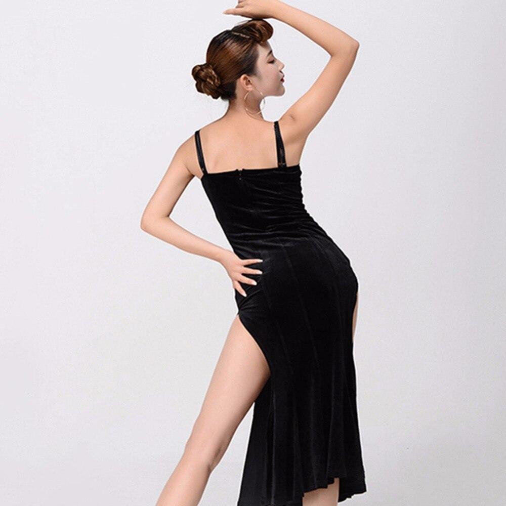 838cdde53 Hermoso vestido de baile latino para las señoras sin mangas negro grado  Sexy falda mujeres moda salón Split vestidos 13157 en Latina de La novedad  y de uso ...