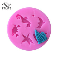 TTLIFE Ocean Creatures Silicone Molds Conch Starfish Shell Fondant Cake Decoration DIY Tools Candy Chocolate Pastry Baking Mould