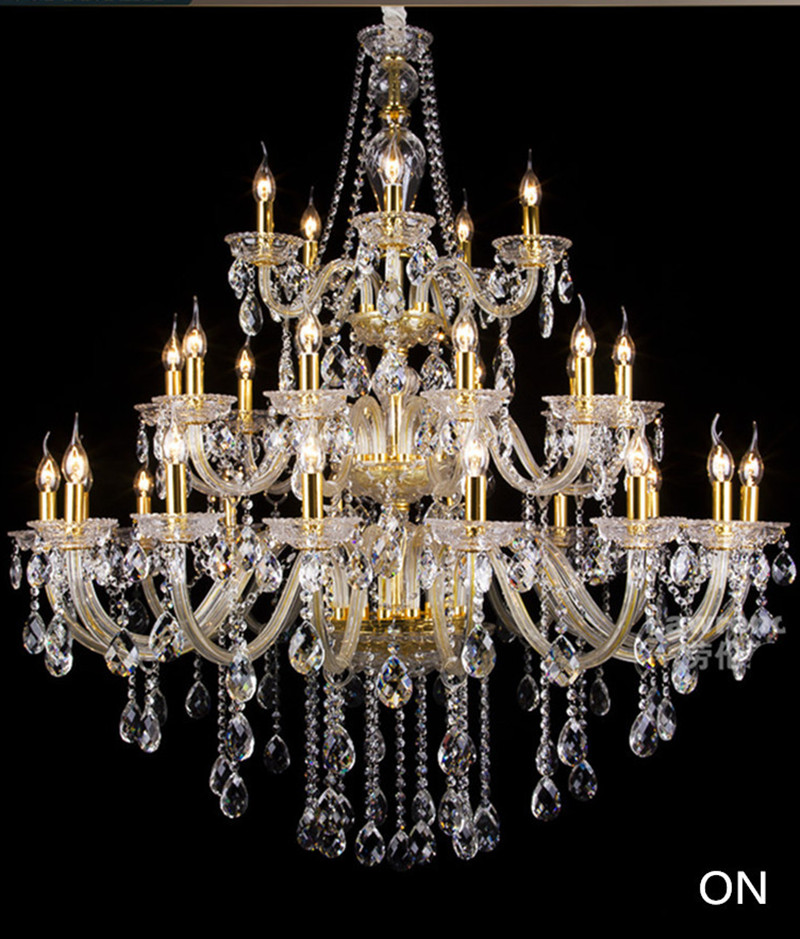 Large gold candle chandelier crystal candelabro Crystal candle chandelier