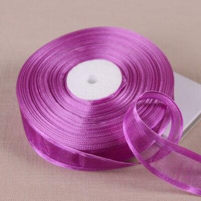 50 ярдов 1′ 25 мм залп глубокий и светло-фиолетовый органзы Ленты/день рождения и Рождественские подарки обертывание украшения Ленты