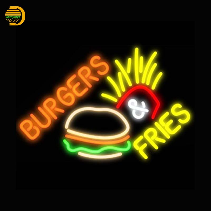 Burger Fries Neon Sign Bread Neon Bulbs Arcade neon sign Glass Tube Handcrafted Light Custom LOGO personalized custom VD19x15  wild at heart neon sign advertise custom logo neon bulb beer glass tube handcrafted neon glass tubes recreation room lamps 17x14