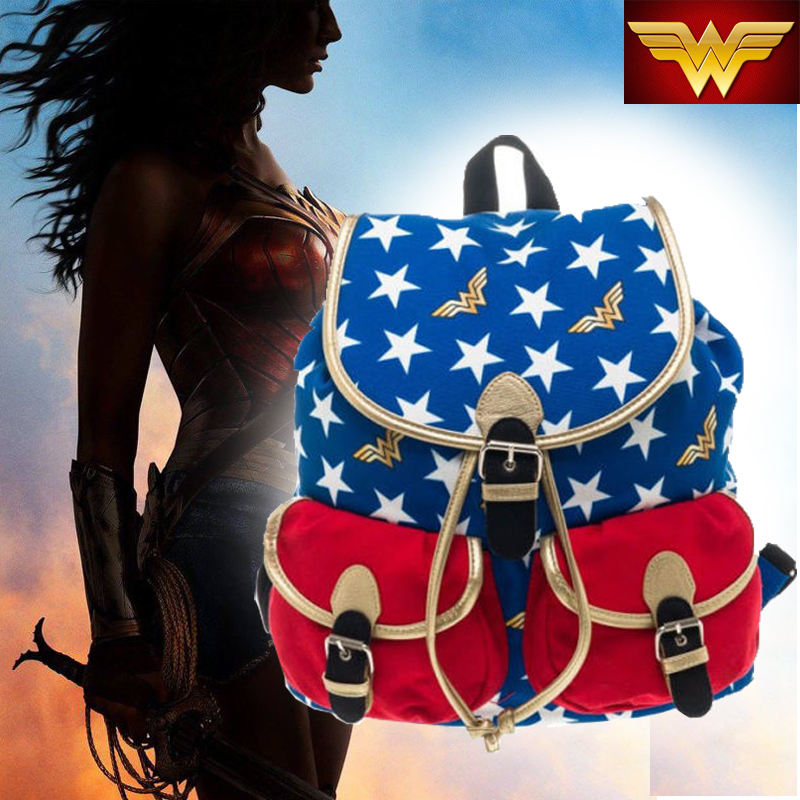 Wonder Woman DC Comic Costume Cosplay School Knapsack Backpack Book Bag Licensed