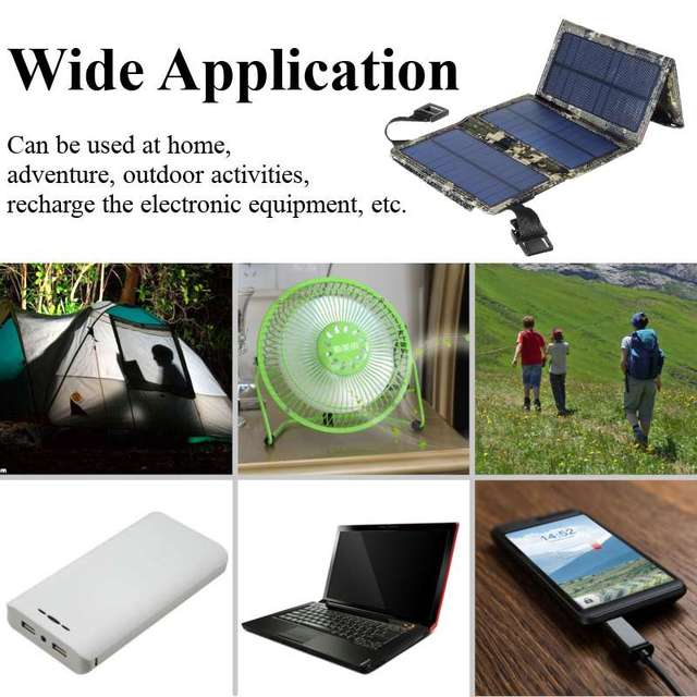 Portable 20W Solar Panel Folding Solar Cell Foldable Waterproof USB Port Charger Mobile Power Bank for Phone Battery Outdoor 6