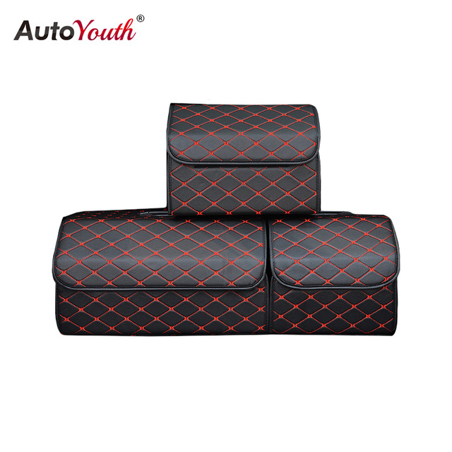 AUTOYOUTH Car Trunk Box Automobiles Organizer Fold Storage Bag PU Waterproof High Capacity Stowing Tidying Interior Accessories