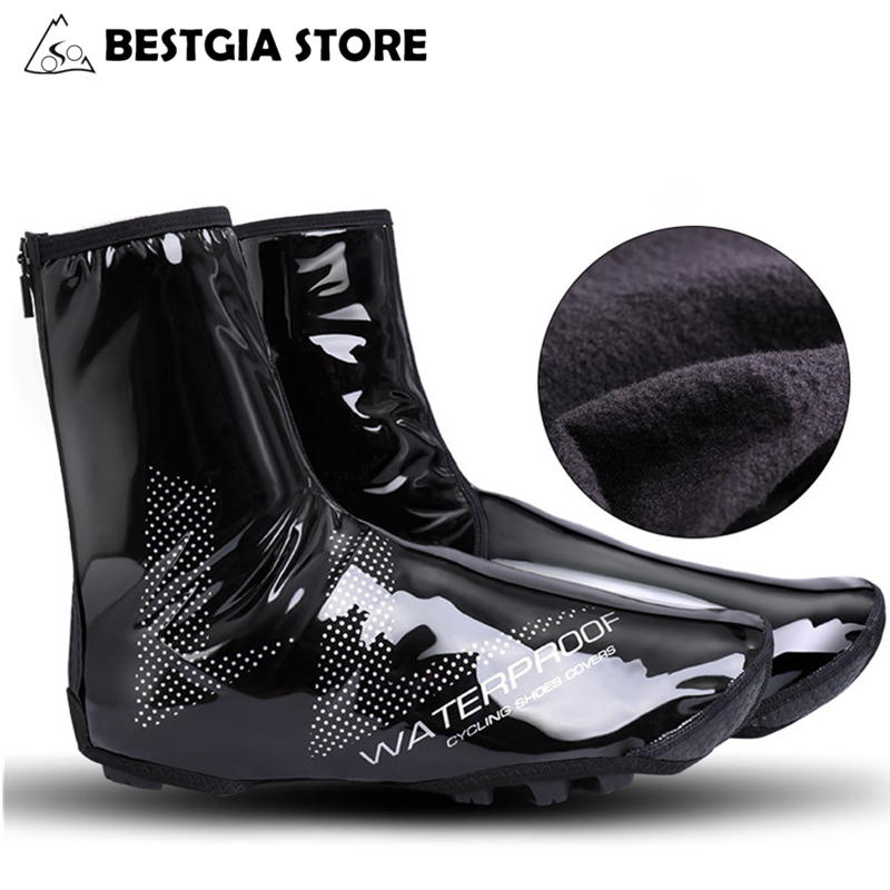 CHEJI Fleece Cycling Shoe Cover Thermal Winter Bicycle Overshoes Waterproof